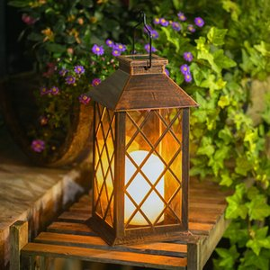 Wholesale Solar Lantern Outdoor Garden Lamp Hanging Lantern Waterproof LED Flickering Flameless Candle Mission Lights for Table Outdoor Party