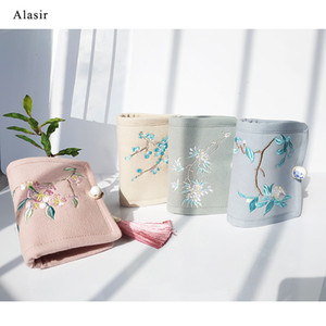Wholesale Alasir Chinese Style Linen Coin Purses Embroidery Flowers Short Wallet Women Mini Wallet Art Floral Vintage Card Holders