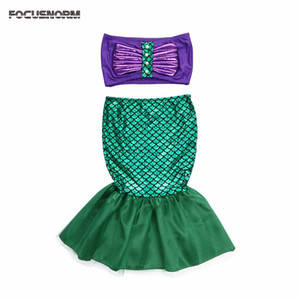 Wholesale mermaid tail princess ariel dress cosplay costume kids for girl fancy green dress Baby Girl