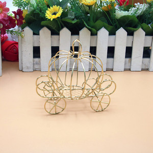 Wholesale gold wedding carriage resale online - Gold Metal Pumpkin Carriage Candy Box Wedding Party Favor Gift Box Chocolate Packaging WB919