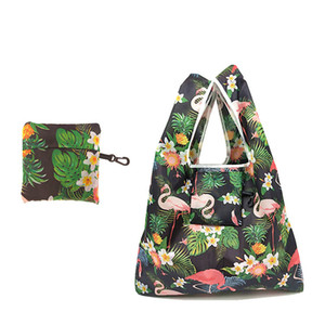 Wholesale foldable cute eco bag resale online - 2019 Women Foldable Eco Shopping Bag Tote Pouch Portable Reusable Grocery Storage Bag Cute Animal Flamingo
