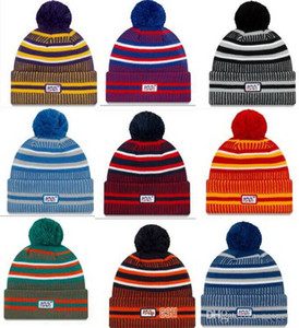 Wholesale Top Quality th Anniversary New Sideline Beanies Hats American Football teams Sports winter caps Beanie Skullies Sport Knit Hat