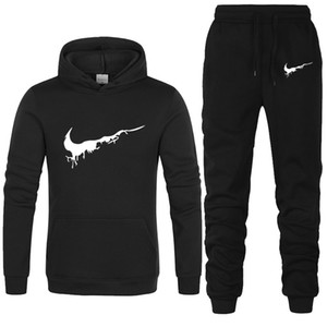 Wholesale New Brand Tracksuit Men Thermal Men Sportswear Sets Fleece Thick Hoodie Pants Sporting Suit Casual Sweatshirts Sport Suit