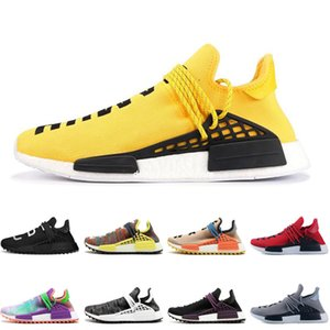 Wholesale Human Race Mens Running Shoes With Box Pharrell Williams Sample Yellow Core Black Sport Shoes Women Sneakers 36-45