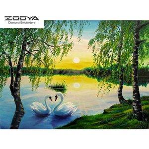 ZOOYA DIY 5D Full Round Diamond Painting Embroidery Diamond Mosaic Animal Swan & Tree Cross Stitch Home Decor