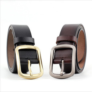 Wholesale 2018 New Designer Luxury Wide Black Brown Genuine Cowhide Leather Belt Men Gold Silver Pin Buckle Mens Waist Belts for Jeans