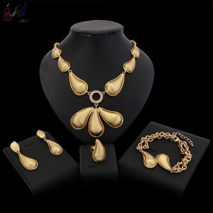 Wholesale Yulaili k Gold Plated Pendant Big Necklace Earrings Bracelet Ring Women Fashion Dubai Jewelry Sets Bridal Party Gift Charms Girls