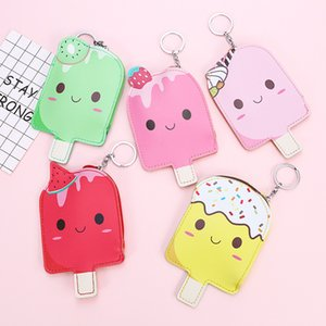 30PCS   LOT Girl Coin Bag Cute Popsicle Coin Purse Women Mini Cartoon Key Chain Bag PU Purse Wholesale Random Color