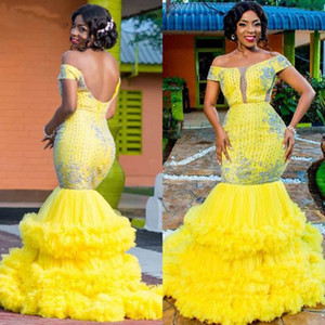 Wholesale 2020 Aso Ebi Yellow Mermaid Evening Dress Off Shoulder Ruffles Tiered Skirt Luxury Lace Beaded Prom Dresses abendkleider Formal Gown