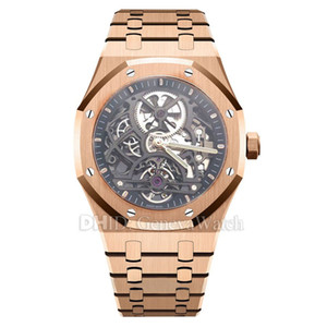 Wholesale Luxury Mens Watches ST OO ST Hand Winding Movement watches mm L Stainless Steel Case Bracelet Tourbillon Hand Winding Watch