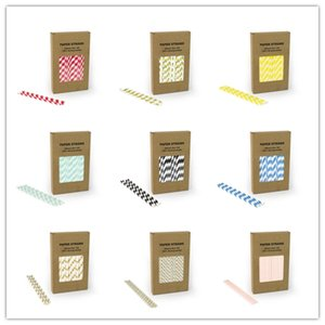 Wholesale 100PCS BOX Eco friendly paper straw designs for choice drinking straw wedding birthday party decoration supplies dispette