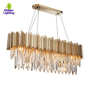 Wholesale rustic ceiling lights resale online - Modern crystal ceiling chandelier lighting Ellipse gold LED chandeliers Luxury decoration lighting fixtures for home restaurant