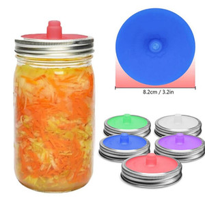 Wholesale supplies for kitchen for sale - Group buy Silicone Waterless Fermenting Airlock Lids Covers Stainless Steel Band for Wide Mouth Mason Jar Sealed Lid Kitchen Supplies CCA12223
