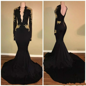 Fashion Deep V-Neck Mermaid Black Prom Dresses Gold Appliques 2019 Long Sleeve Pageant Arabic Dubai Formal Long Party Gowns Evening Dress on Sale