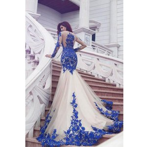 Wholesale 2019 New Arrival Long Sleeve Royal Blue Lace Evening Dresses Mermaid Tulle Prom Gowns Newest