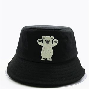 Wholesale The new style Big white bear embroidery Bucket Hat Fisherman Hat outdoor travel Sun Cap Hats for child men and Women