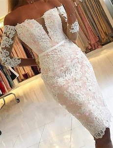 Wholesale 2020 Sexy Plus Size Women Cocktail Dresses Off Shoulder White Lace Appliques Beaded Prom Dresses Party Dress Knee Length Homecoming Gowns