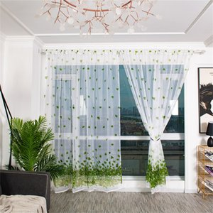 Wholesale Europe Trees Sheer Curtain Tulle Window Treatment Voile Drape Valance Fabric Curtains For Living Room Kitchen Modern Window