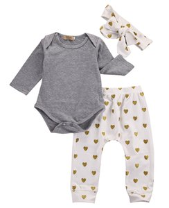 Wholesale Newborn Baby Girls Clothes Long Sleeve Cotton Romper Gold Heart Pants Headband Outfits Toddler Kids Clothing Set Boutique Girls Set B11