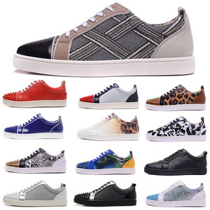 Wholesale 2019 Luxury Designer Mens Red Bottoms Low-Top Cut Junior Studded Spikes Flats Daily Casual Shoes For Woman Leather Suede Party Skateboarding