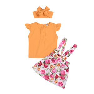 Baby Girl clothes Round Neck sleeveless New instagram girls yellow blouse + floral halter skirt + hair strap three-piece children's suit