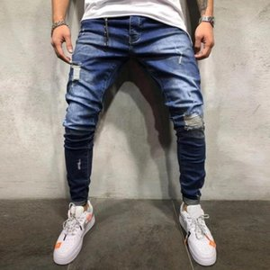 Wholesale 2019 Summer Men s Jeans Skinny Slim Fit Straight Ripped Distressed Pleated Knee Hole Denim Pants Dark Blue Stretch Pencil Jeans