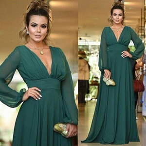 Wholesale Elegant Hunter Green Evening Dresses V Neck Long Sleeve A Line Chiffon Formal Evening Party Gowns Special Occasion Chiffon Cheap Prom Dress