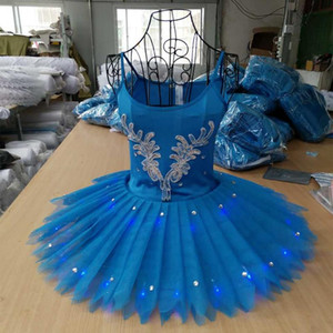 Ballet Professional Costume Fluorescent Pompon Dress Swan Lake Tutu Dress School Art Opening Show Blue Pancake Jumpsuit H643