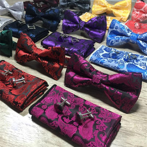 Wholesale 3Pcs set Classic Paisley Bow Ties Set Mens Fashion Bowtie Handkerchief Cufflinks Sets Styles Wedding Party Business Cufflinks Handkerchie