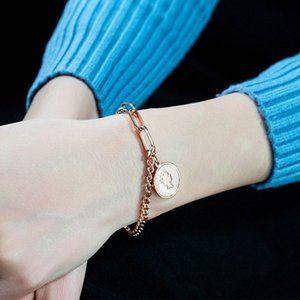 Wholesale Retro Round Tag Charm Bracelet Elisabeth Coin Jewelry Titanium Steel Rose Gold Woman Lady Round Bracelet