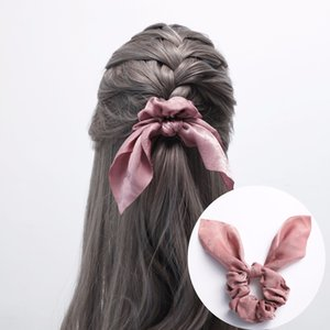 Women Rabbit Ear Scrunchie Bowknots Silk Fabric Ponytail Holder Elastic Hair Bands Hair Accessories Headwear Girls Gift Wholesale
