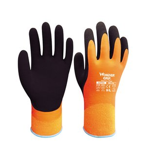 Wonder Grip WG338 Insulated Double-Dipped Incredibly Comfortable Work Gloves, Latex Coated Water Resistant, Black Palm, S-XL, Orange