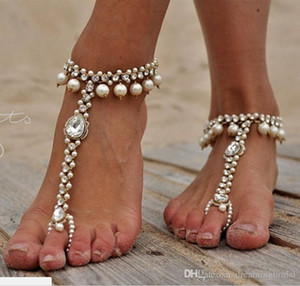 Wholesale Bridal Pearl and Crystal Barefoot Sandals Wedding Shoes Yoga Accessoried Dance Shoes Foot Jewellery Pool Nude Shoes Beach Necessity