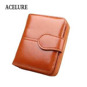 Wholesale Acelure Simple Style Oil Wax Pu Leather Wallets With Card Holder Solid Color Women Purse Simple Cute Students Daily Small Bag Q190428