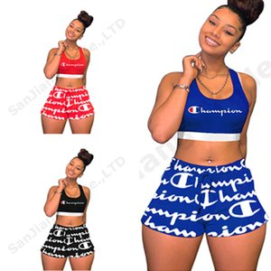 Wholesale Women Champions Letter Print Crop Tank Shorts 2 Piece Tracksuit Summer Outfit Sleeveless Sportswear Yoga Joggers Set Sports Suit Cloth C3261