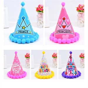 Wholesale party dress years old for sale - Group buy Childrens birthday hat hair ball baby year old children s birthday party dress up supplies plush ball hat XD22702