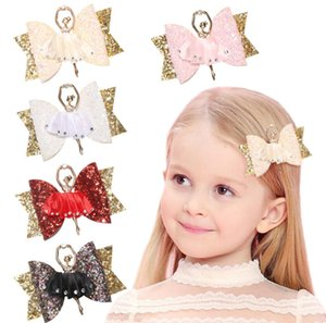 Wholesale Kids sequins Bows hair clip rhinestones lace ballet girls princess hairpins children birthday party barrettes chirstmas hair accessory F9476
