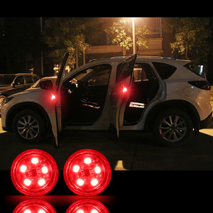 Wholesale 2pcs Flashing LED Warning Lamp Auto Strobe Traffic Light Install Car Door Lights Anti Collision Magnetic Control Red Yellow Blue
