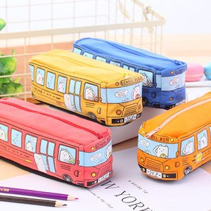 Wholesale Cute School Bus Pencil Case large Capacity Canvas Car Pencil Bag Orange Red Yellow Blue Available