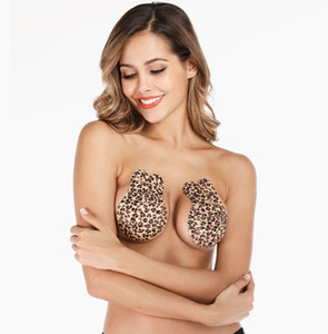 Dropshipping Silicone Self-Adhesive Bra Leopard Printed Rabbit Ears Strapless Invisible Bra Push Up Blackless Underwear Breast Sticker
