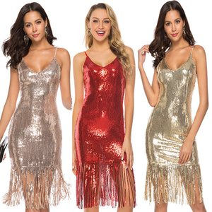2019 Sexy Sparkly Short Sequins Sheath Cocktail Party Dresses With Tassels Spaghetti Straps Knee Length Formal Evening Occasion Clubwear on Sale