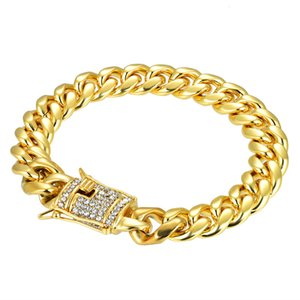 Wholesale Mens Womens K Yellow Gold Plated Stainless Steel Chain CZ Curb Link inch Punk Bracelet