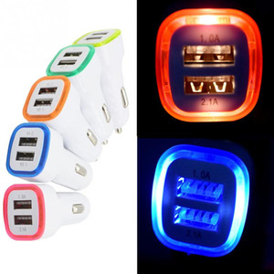 Wholesale Car Charger Led Dual USB Portable Cell Phone Chargers V A for Iphone X Samsung S8 S9 Plus Usb Adapter