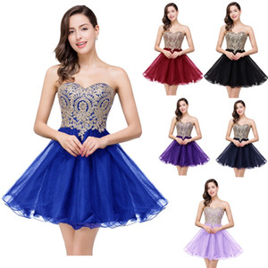 $19.9 New Cheap Mini Short Homecoming Dresses 2019 Little Black Lace Appliques Tulle Cocktail Prom Party Gowns CPS411 on Sale
