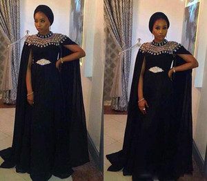 New African Black Evening Dresses with Cape Elegant Satin Party Gowns Long Formal Abiye Prom Party Dress vestido longo festa on Sale