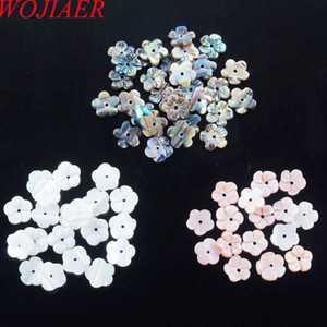 Wholesale WOJIAER Natural New Zelanian Abalone Shell Pearl Gem Stones Flower x1mm Bead For Making Jewelry DBU310