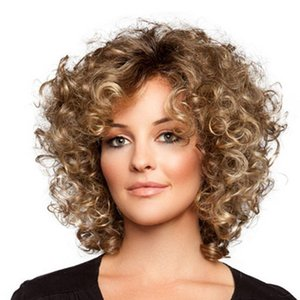 Wholesale Curly Short Wigs inches Afro Kinky Curly Synthetic Wigs Short Wave Wig for Women Female Women s Blonde Brown Wigs Color Blonde