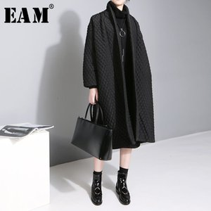 [EAM] 2019 New Large Size Temperament Solid Color Long-sleeved Long Paragraph Cotton Jacket Female WTH CJ191214