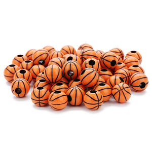 50 Pcs Lot Loose Beads Perforated orange color Basketball shape Acrylic plastic loose beads Jewelry findings Components accessories on Sale