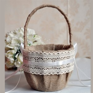 Wholesale Special Wedding Ceremony Party Love Case Satin Bowknot Rose Flower Basket for Women Girl DIY Home Decoration Storage Bag Container CPA1909